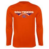 Syntrel Performance Orange Longsleeve Shirt-Stacked Football Design