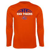 Syntrel Performance Orange Longsleeve Shirt-Stacked Basketball Design