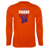 Performance Orange Longsleeve Shirt-Basketball Net Design