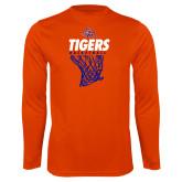 Syntrel Performance Orange Longsleeve Shirt-Basketball Net Design