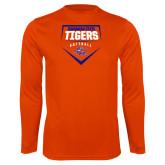 Syntrel Performance Orange Longsleeve Shirt-Softball Plate Design
