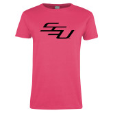 Ladies Fuchsia T Shirt-SSU