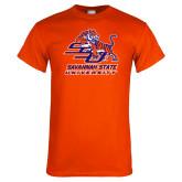 Orange T Shirt-SSU w/ Tiger Savannah  State University Stacked Distressed