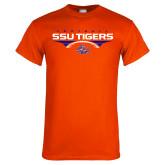 Orange T Shirt-Stacked Football Design