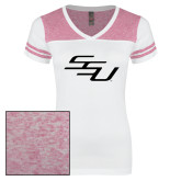 Ladies White/Bright Pink Juniors Varsity V Neck Tee-SSU