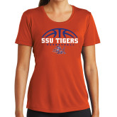 Ladies Syntrel Performance Orange Tee-Stacked Basketball Design