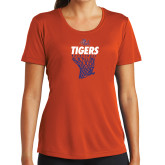 Ladies Syntrel Performance Orange Tee-Basketball Net Design