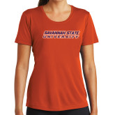 Ladies Syntrel Performance Orange Tee-Horizontal Mark