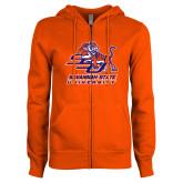 ENZA Ladies Orange Fleece Full Zip Hoodie-Official Logo