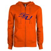 ENZA Ladies Orange Fleece Full Zip Hoodie-SSU