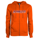 ENZA Ladies Orange Fleece Full Zip Hoodie-Horizontal Mark