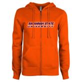 ENZA Ladies Orange Fleece Full Zip Hoodie-Horizontal Mark