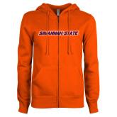 ENZA Ladies Orange Fleece Full Zip Hoodie-Wordmark