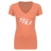 Next Level Ladies Vintage Light Orange Tri Blend V-Neck Tee-SSU