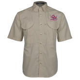 Khaki Short Sleeve Performance Fishing Shirt-Official Logo