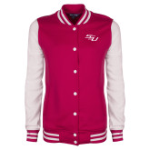 Ladies Pink Raspberry/White Fleece Letterman Jacket-SSU