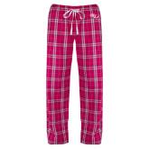 Ladies Dark Fuchsia/White Flannel Pajama Pant-SSU