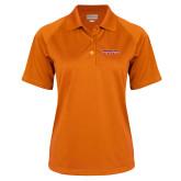 Ladies Orange Textured Saddle Shoulder Polo-Horizontal Mark