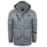 Grey Brushstroke Print Insulated Jacket-SSU