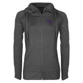 Ladies Sport Wick Stretch Full Zip Charcoal Jacket-SSU