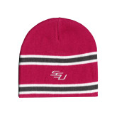 Pink/Charcoal/White Striped Knit Beanie-SSU