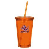 Madison Double Wall Orange Tumbler w/Straw 16oz-Official Logo