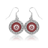 Crystal Studded Round Pendant Silver Dangle Earrings-Seal