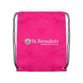 Pink Drawstring Backpack-St Benedicts Wordmark