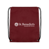 Maroon Drawstring Backpack-St Benedicts Wordmark