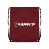Maroon Drawstring Backpack-Gray Bee Logo