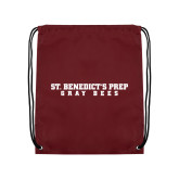 Maroon Drawstring Backpack-Gray Bee Logo No Bee