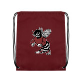 Maroon Drawstring Backpack-Fighting Bee