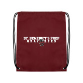 Maroon Drawstring Backpack-Gray Bee Logo Bee in Middle