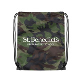 Camo Drawstring Backpack-St Benedicts Secondary Wordmark