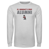 White Long Sleeve T Shirt-Alumni with Fighting Bee