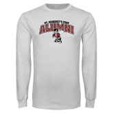 White Long Sleeve T Shirt-Alumni Gray Bees with Seal