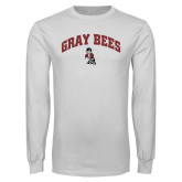 White Long Sleeve T Shirt-Gray Bees Arched with Fighting Bee