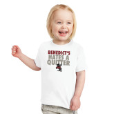 Toddler White T Shirt-Benedicts Hates A Quitter