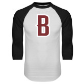 White/Black Raglan Baseball T Shirt-B Mark