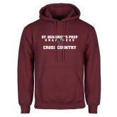 Maroon Fleece Hoodie-Cross Country Gray Bee Logo Bee in Middle