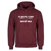 Maroon Fleece Hoodie-Basketball Gray Bee Logo Bee in Middle