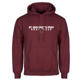 Maroon Fleece Hoodie-Gray Bee Logo Bee in Middle