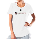 Ladies Under Armour White Charged Cotton Tee-Gray Bee Logo