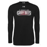 Under Armour Black Long Sleeve Tech Tee-Gray Bee Logo
