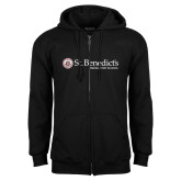Black Fleece Full Zip Hoodie-St Benedicts Wordmark