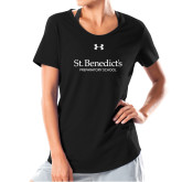 Ladies Under Armour Black Charged Cotton Tee-St Benedicts Secondary Wordmark