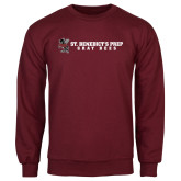 Maroon Fleece Crew-Gray Bee Logo