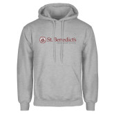 Grey Fleece Hoodie-St Benedicts Wordmark