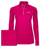 Ladies Pink Raspberry Sport Wick Textured 1/4 Zip Pullover-Gray Bee Logo