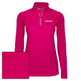 Ladies Pink Raspberry Sport Wick Textured 1/4 Zip Pullover-Gray Bee Logo No Bee